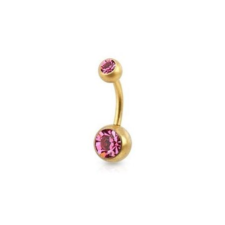 Piercing nombril Acier doré mat cristal rose