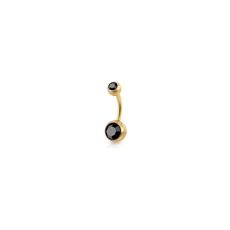 Piercing nombril simple en Acier chirurgical 316L doré mat cristal noir