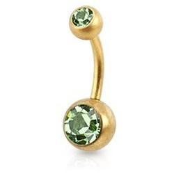 Piercing nombril Acier doré mat cristal vert