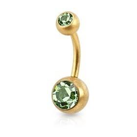 Piercing nombril simple en Acier chirurgical 316L doré mat cristal couleur vert