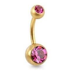 Piercing nombril Acier doré mat cristal rose fushia