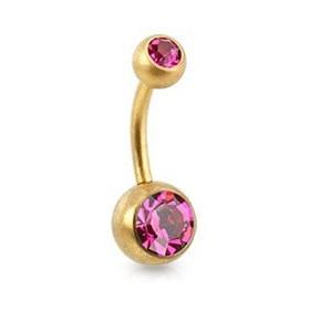 Piercing nombril simple en Acier chirurgical 316L doré mat cristal couleur rose fushia