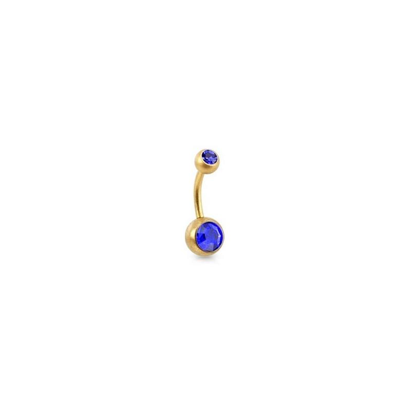 Piercing nombril simple en Acier chirurgical 316L doré mat cristal couleur bleu saphir