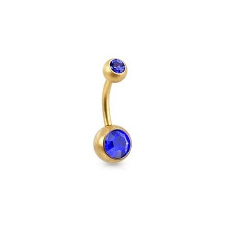 Piercing nombril Acier doré mat cristal bleu