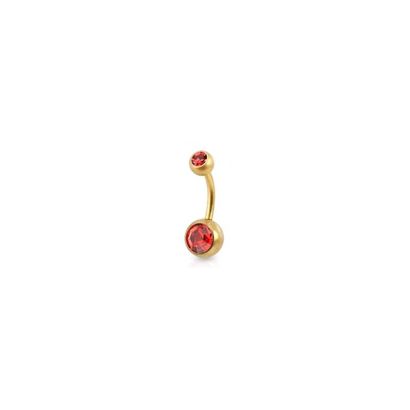 Piercing nombril simple en Acier chirurgical 316L doré mat cristal rouge