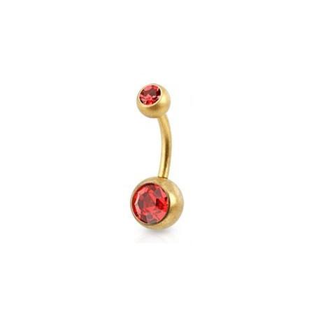 Piercing nombril Acier doré mat cristal rouge