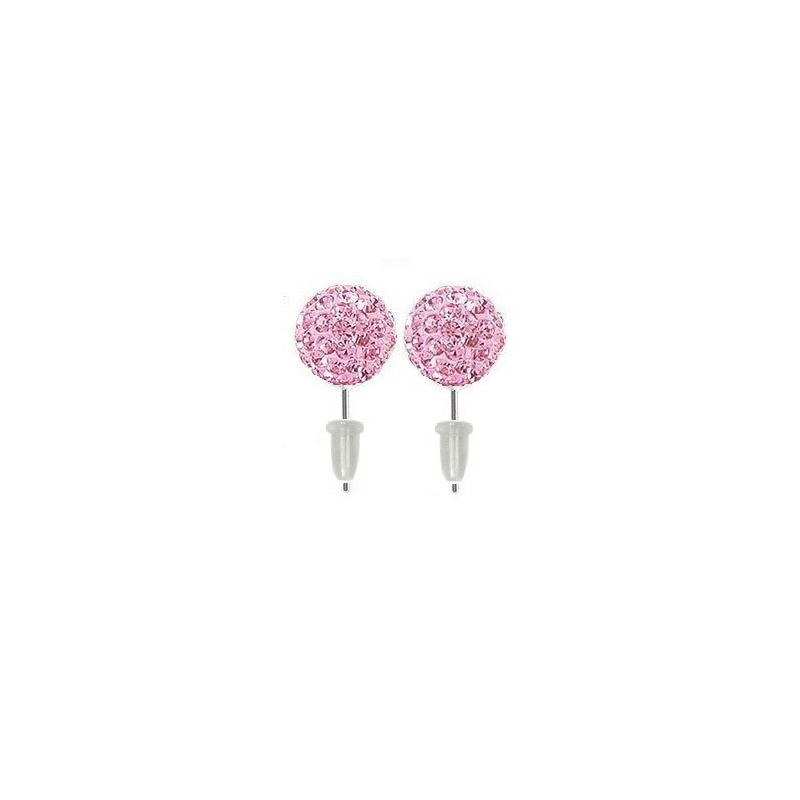 Boucle d'oreille en acier chirurgical boule multi cristaux cristal de couleur Rose
