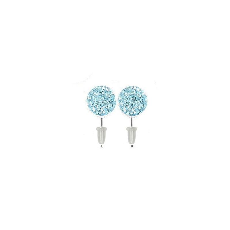 Boucle d'oreille boule multi cristaux cristal de couleur bleu turquoise