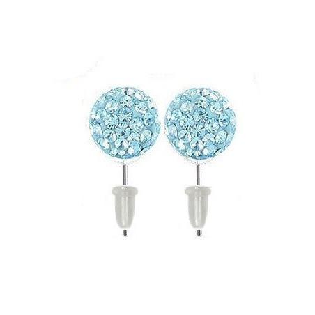 Boucle d'oreille boule cristal Bleu turquoise