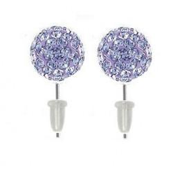 Boucle d'oreille boule cristal Violet