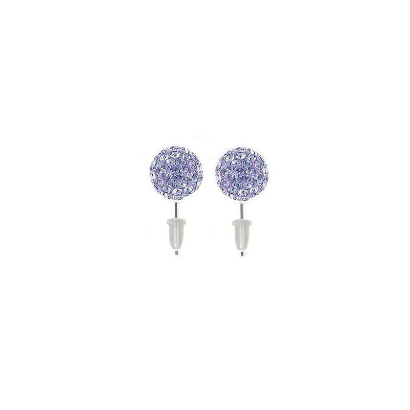 Boucle d'oreille en acier chirurgical boule cristal Violet