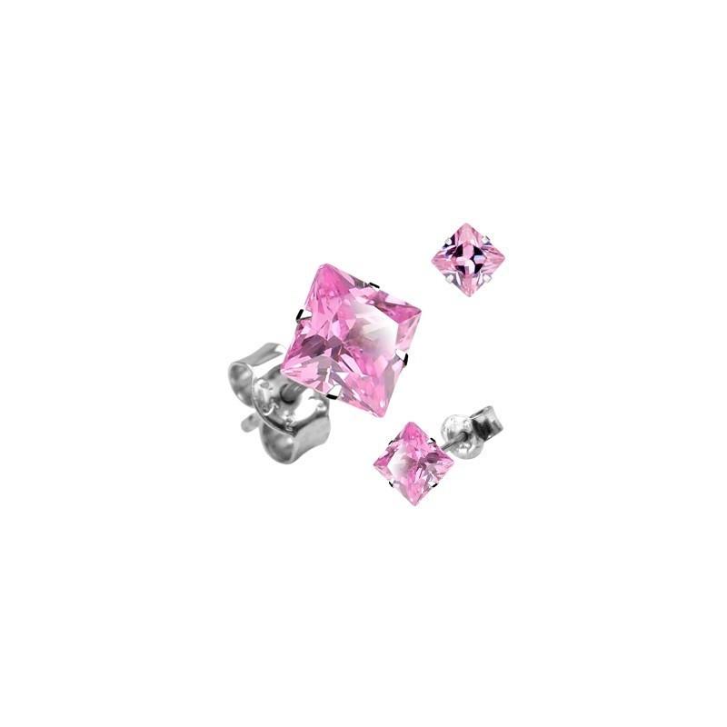 Boucle d'Oreille en acier chirurgical inoxydable Carré cristal Rose pas cher