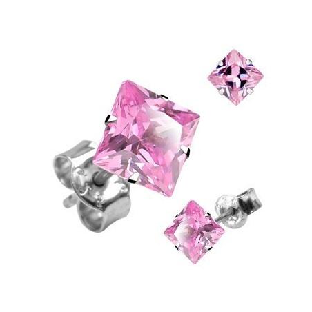 Boucle d'Oreille Carré cristal Rose