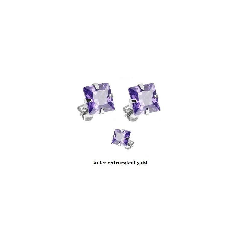 Boucle d'Oreille en acier chirurgical 316l Carré cristal Violet