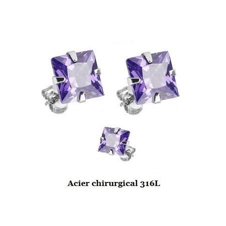 Boucle d'Oreille Carré cristal Violet