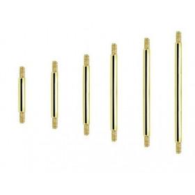 Barre de piercing barbell pour langue et téton en titane anodisé doré 1.6 mm de diamètre pas cher