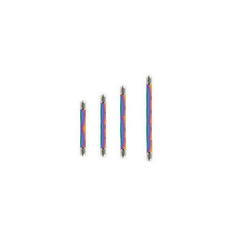 Barre de piercing barbell pour langue et téton en titane anodisé essence couleur arc en ciel acier 1.6 mm de diamètre pas cher