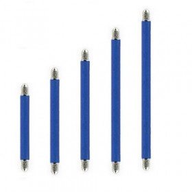 Barre de piercing barbell pour langue et téton en titane anodisé bleu 1.6 mm de diamètre pas cher