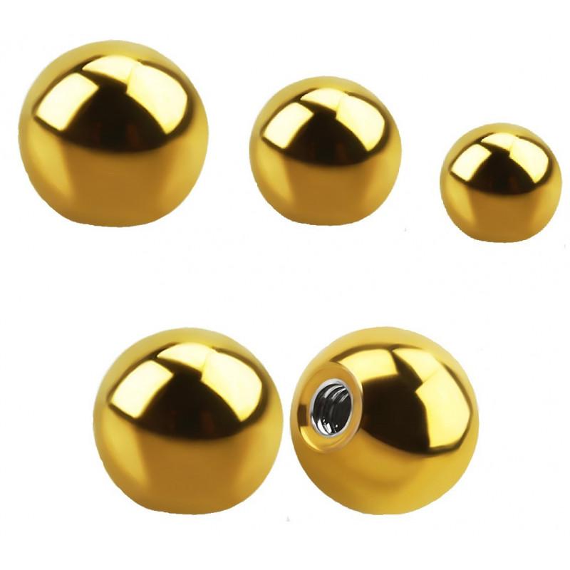 Bille de piercing 1.6 mm de diamètre en titane doré anodisé couleur or pour le nombril, la langue et le téton