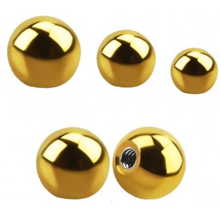 Bille de piercing 1.6 mm en titane doré
