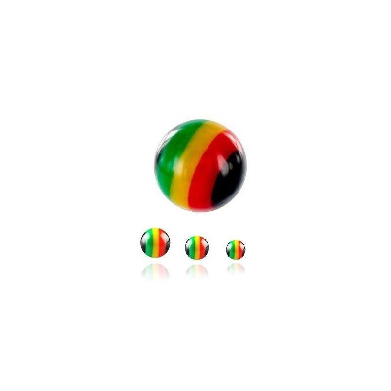 Bille de piercing UV acrylique rasta 1.6 mm couleur vert jaune rouge jamaique bob marley pas cher