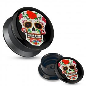 Piercing plug écrateur oreille motif Tête de mort mexicaine rouge et noir en acrylique