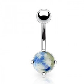 Piercing nombril pierre naturel semi précieuse Lapis Lazuli