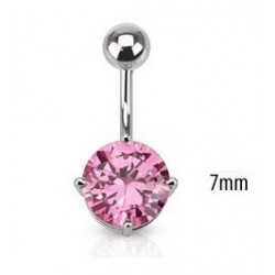 Piercing nombril solitaire rose 7mm