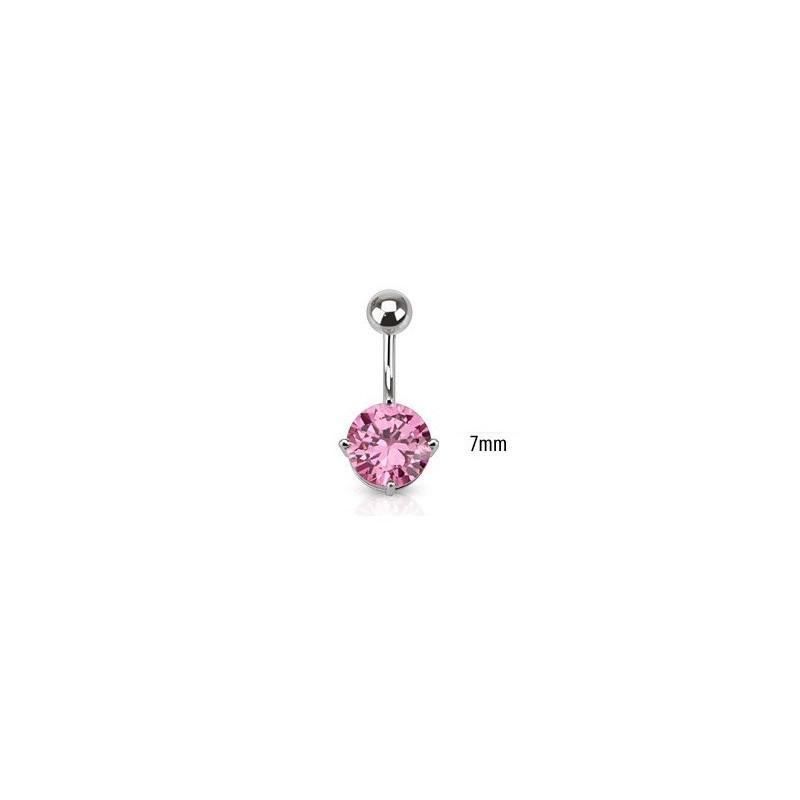 Piercing nombril acier chirurgical solitaire cristal de couleur rose 7mm