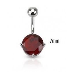Piercing nombril solitaire rouge 7mm