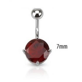 Piercing nombril barre acier chirurgical solitaire cristal couleur rouge 7mm
