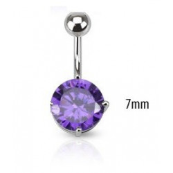 Piercing nombril solitaire Violet 7mm