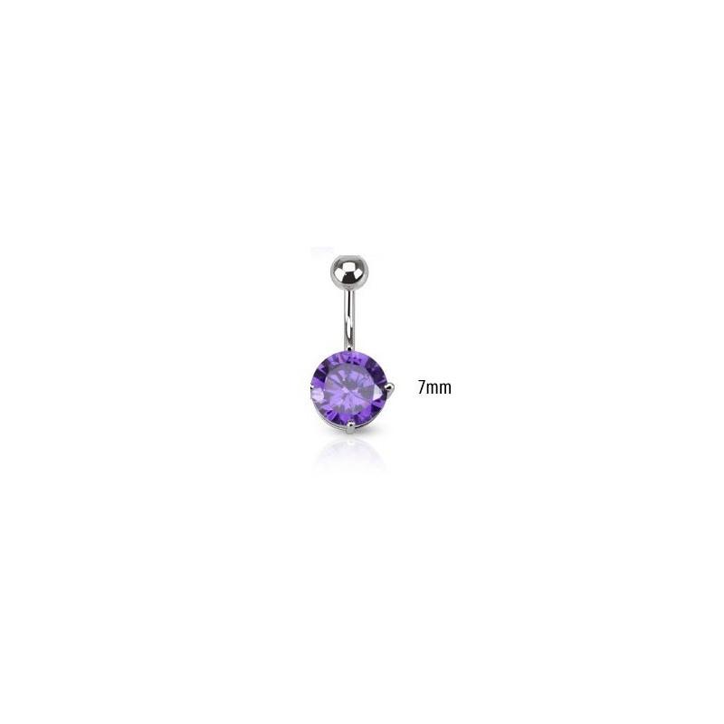Piercing nombril barre acier chirurgical solitaire cristal couleur violet clair 7mm