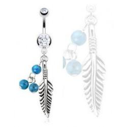 Piercing nombril Plume et turquoise cristal blanc