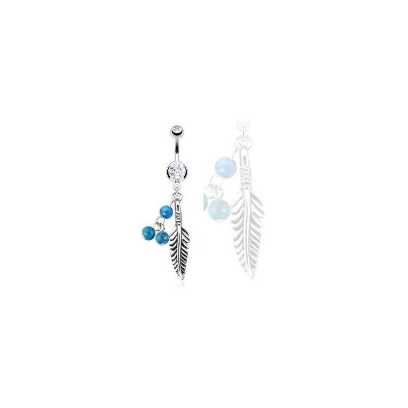 Piercing nombril pendant en acier chirurgical motif Plume et turquoise avec cristal blanc