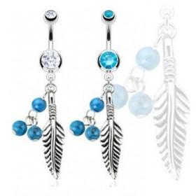 Piercing nombril pendant en acier chirurgical motif Plume et turquoise avec cristal blanc indien