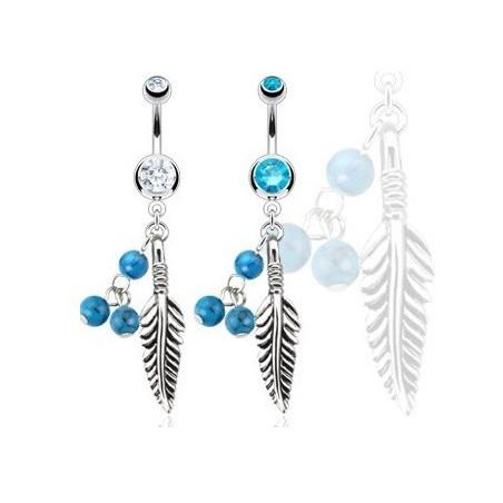 Piercing nombril Plume et turquoise