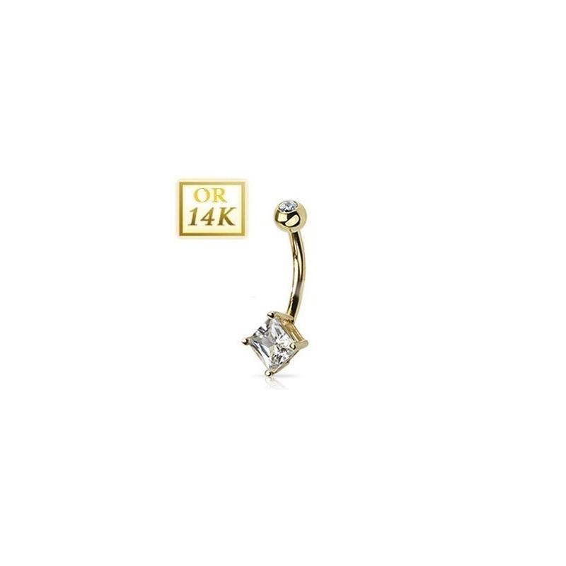 Piercing nombril en or jaune 14 carats avec cristal carré de couleur blanc