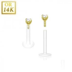 Piercing Labret BioFlex grif en cristal de couleur blanc 2.5mm 14 cartas
