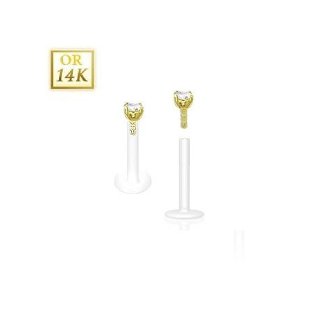 Piercing Labret BioFlex grif 2.5mm 14 cartas cristal blanc