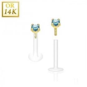 Piercing Labret BioFlex grif en cristal de couleur bleu turquoise 2.5mm 14 cartas