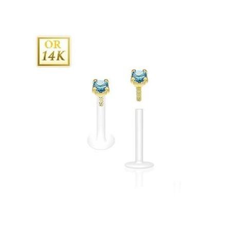 Piercing Labret BioFlex grif 2.5mm 14 cartas cristal turquoise