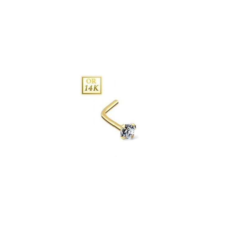 Piercing ner Or jaune 14 carats cristal 2 mm fome L bijoux de nez chic et discret