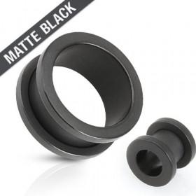 Piercing tunnel écrateur d'oreille vissé de couleur noir mat