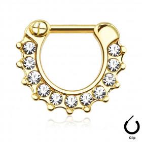 Piercing net pour piercing septum à clip en acier chirurgical doré et cristal blanc