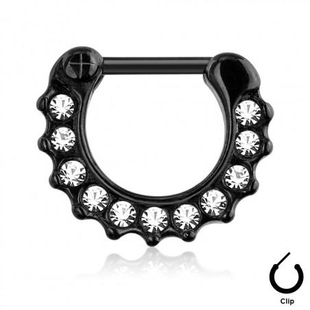 Piercing septum clip acier noir et cristal