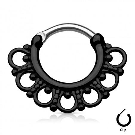 Piercing septum motif tribal en acier couleur noir