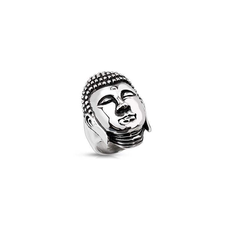 Bague homme tête de Bouddha thailandais en acier Inoxydable