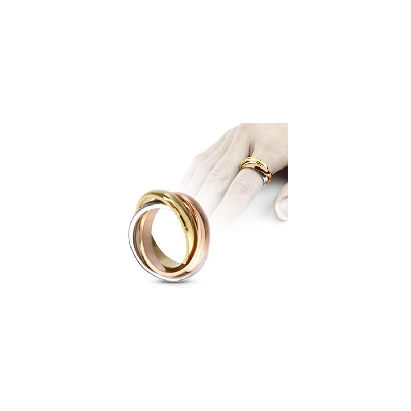 Bague femme Acier chirurgical inoxydable triple anneau de couleur argent or et or rose