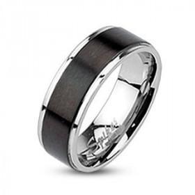 Bague homme femme anneau acier chirurgical bicolore acier et noir
